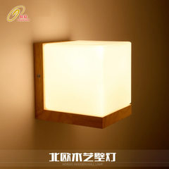 Modern solid wood art LED wall lamp warm bedroom bedside wall lamp living room hallway stair wall la E27 * 1