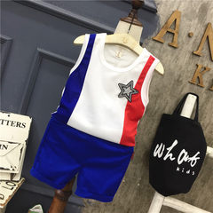 Anan baby children`s wear summer new style boys` personality pasted cloth vest shorts leisure suit A The picture color 90 cm
