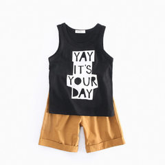Summer vest leisure shorts two sets of children`s wear wholesale ins hot style pure cotton boy suit  CCSS7036 black and white vest set 3-4/110