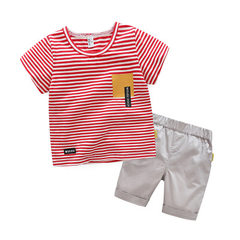 2018 new children`s summer leisure suit for boys and girls, two sets of cotton summer for all childr red 100 cm