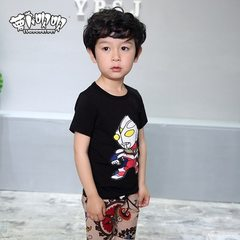 2018 summer new children`s wear a replacement boy`s two-piece short-sleeved shorts children`s suit c black 100 cm