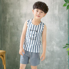 Hot style wholesale new children`s vest set boys and girls summer sleeveless cartoon leisure sports  Striped bear in vest suit It is recommended to be 80cm-90cm tall