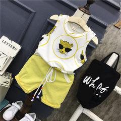 Anan baby children`s wear 2017 summer new boy sleeveless vest A5133 casual pants AQ727 suit Vest A5133+ trousers AQ727 suit 90 cm