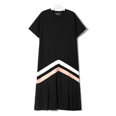Amazon hot style women`s dress 2018 summer new European and American dresses short sleeve middle len black All code