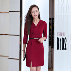 2017 new style temperament OL spring and summer wear mid-sleeve v-neck dress professional beautician Wine red XXXL