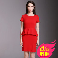 2018 new summer beauty guide dress slim red short sleeve stretch professional dress with large size  Red dress s.