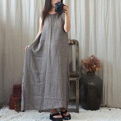 New style summer original literary and art women wear single base sleeveless long skirt dress loose  khaki long