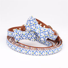 Ahmingge new style original and wind pet bowknot collar cat traction dog and dog general manufacture blue S bow 1.3*32cm [adjust 22-28cm]