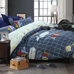 厂家直销热卖床上用品成人芦荟棉枕套被套床单款四件套礼品 150*200cm