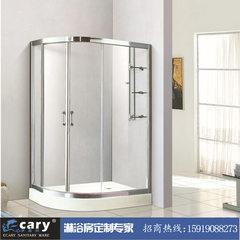 简易淋浴房弧扇形底盆整体带浴缸隔断屏风钢化玻璃移门式浴室 EC-8804