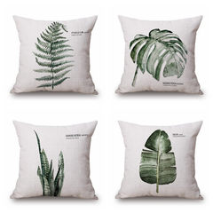 Simple style green plant series fresh linen pillow cover sofa office cushion furniture pillow cloth  s1465 45 * 45 cm