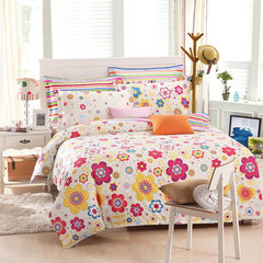 European-style twill four-piece set new bedclothes all cotton print home textile four-piece set all  1.5 meters