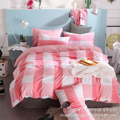 Autumn and winter stripe washing cotton four - piece simple set of good quality suite lattice non -  200 x230