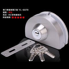 单钩玻璃门锁免开孔单门单面门锁中央玻璃锁不锈钢 单钩