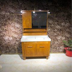 New Chinese oak bathroom cabinet manufacturer direct sale integrated ceramic bath cabinet 800