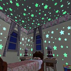 100pcs/ bag bedroom sofa fluorescent plastic decorative PVC sticker on amazon 3CM luminous star wall yellow