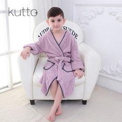 厂家直销KUTTO珊瑚绒儿童浴袍 男女童保暖浴衣睡袍秋冬加厚 黄色
