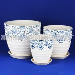 [factory direct selling] wholesale haxin sets three ceramic flowerpots 111 pearl printing S5 blue blue & amp; Phi; 23 & amp; Times; 20 & amp; Phi; 19 & amp; Times; 17 & amp; Phi; 15 & amp; Times; 14