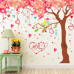 Large living room television background wall decorative wall stickers cartoon graffiti cherry blosso 60 * 90 cm * 3