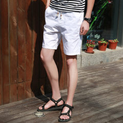 Summer new cotton men`s casual shorts men`s five-cent trousers beach trousers tights factory wholesa white m