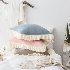 New style cotton knitting pillows on the back of the Nordic sofa leisure pillow creative home bed wi pink 45 * 45 cm