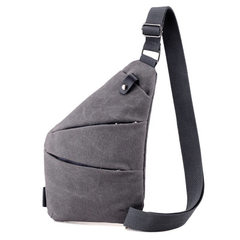 Men`s single shoulder oblique satchel 2018 spring new style small bag trend 100 with large capacity  gray