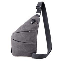 男士单肩斜挎包2018春季新款小包潮流百搭大容量帆布包 灰色