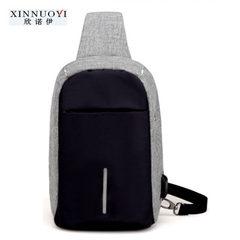 Shoulder bag men slanted breast bag men`s canvas sports oblique cross men`s small backpack men`s cas blue