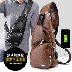 Cross-border customized new single-shoulder men`s charging pack sports men`s usb breast bag outside  black
