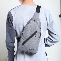 Canvas breast bag men`s leisure bag retro style zipper wear-resistant single shoulder messenger bag blue