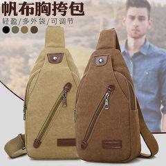 High-quality goods recommend outdoor leisure bag men`s breast bag trend single shoulder bag canvas o khaki