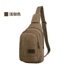 Canvas breast bag men`s outdoor leisure bag zipper anti-theft canvas single shoulder messenger bag khaki