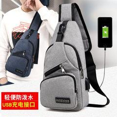 Spring/summer 2018 new breast bag USB smart charging men chest bag Oxford cloth waterproof men`s sin Dark blue