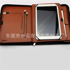 Hot pu zipper leather multi - specifications business folder mobile power business folder volume hig Dark brown