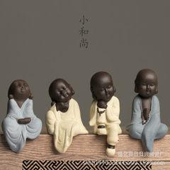 Factory direct selling dehua tea pet purple sand ceramic monk living room creative small shami craft A young monk