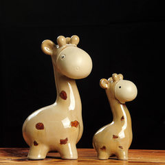 New products on sale mother deer creative gifts kiln glaze blue deer set pieces of ceramic animal cr 16 * 11 * 27 cm small 10 * 7 * 18 cm