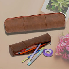 Pure hand-made genuine leather cylinder pen bag multi-functional personality retro creative gift bag white