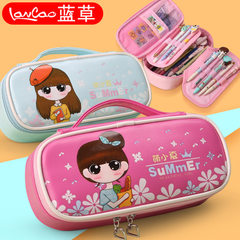 Blue grass pen bag Korea simple children hand princess lovely stationery bag elementary school stude Pale pink