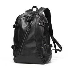 Fashion trend men backpack leisure man bag travel large capacity men PU leather backpack fashion stu black 14 inches