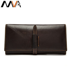 Special price first layer cowhide hand bag men`s and women`s long purse vintage genuine leather mult coffee