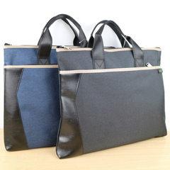 新款男士商务休闲公文包 牛津布手提包 A4 双拉链 横款 手提式 蓝色
