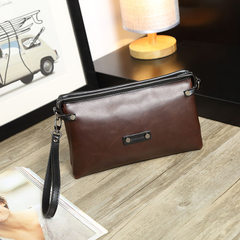 The manufacturer directly provides 2018 new style hand bag men crazy horse skin men`s bag fashionabl Coffee with black