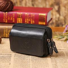 Men`s Fanny pack wear leather belt men`s double buckle leather waist leather jacket 5 inch double la Brown 5