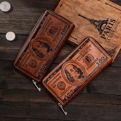 新款跨境专供美金压变工艺男士个性创意单拉包手拿包钱包铜拉链 PU12单拉压变浅咖啡