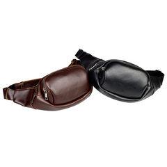 2018 new Korean fashionable men`s Fanny pack pu leather fashionable single shoulder chest bag retro  black