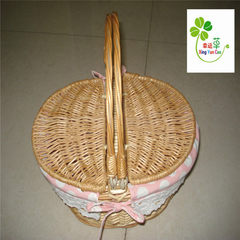 Set three willow woven flower basket white plastic lining can be planted plant balcony flowerpot bas yellow 5895