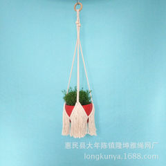 Hand-woven plant hanging basket flowerpot hanging rope cotton rope weaving flowerpot net pocket gard Must to be A 90 cm