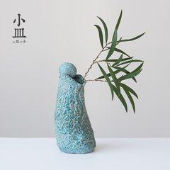 小皿陶瓷花瓶复古禅意干花水培客厅办公摆件插花桌面花器厂家直销 望月-花插