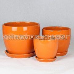 【厂家直销】批发轩盛中国红套三陶瓷花盆 101橙(吉黄) 橙色 Φ23×18 Φ18×16 Φ14×14