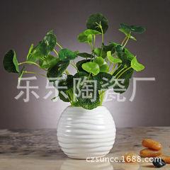 厂家订做小花盆陶瓷迷你简约花盆白色景观现代简约花器 绿点家居 白 156B:11.5*11.5*10